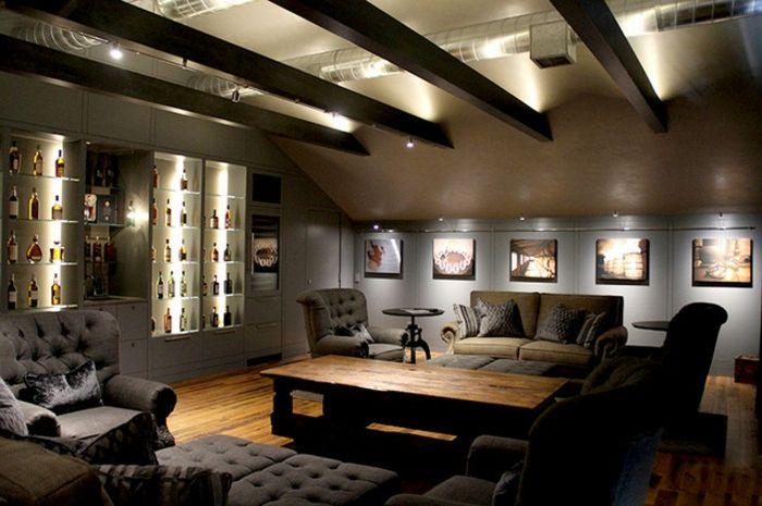 Wohnzimmer Beleuchtung In Dunklen Farbschemen Sehr Attraktiv