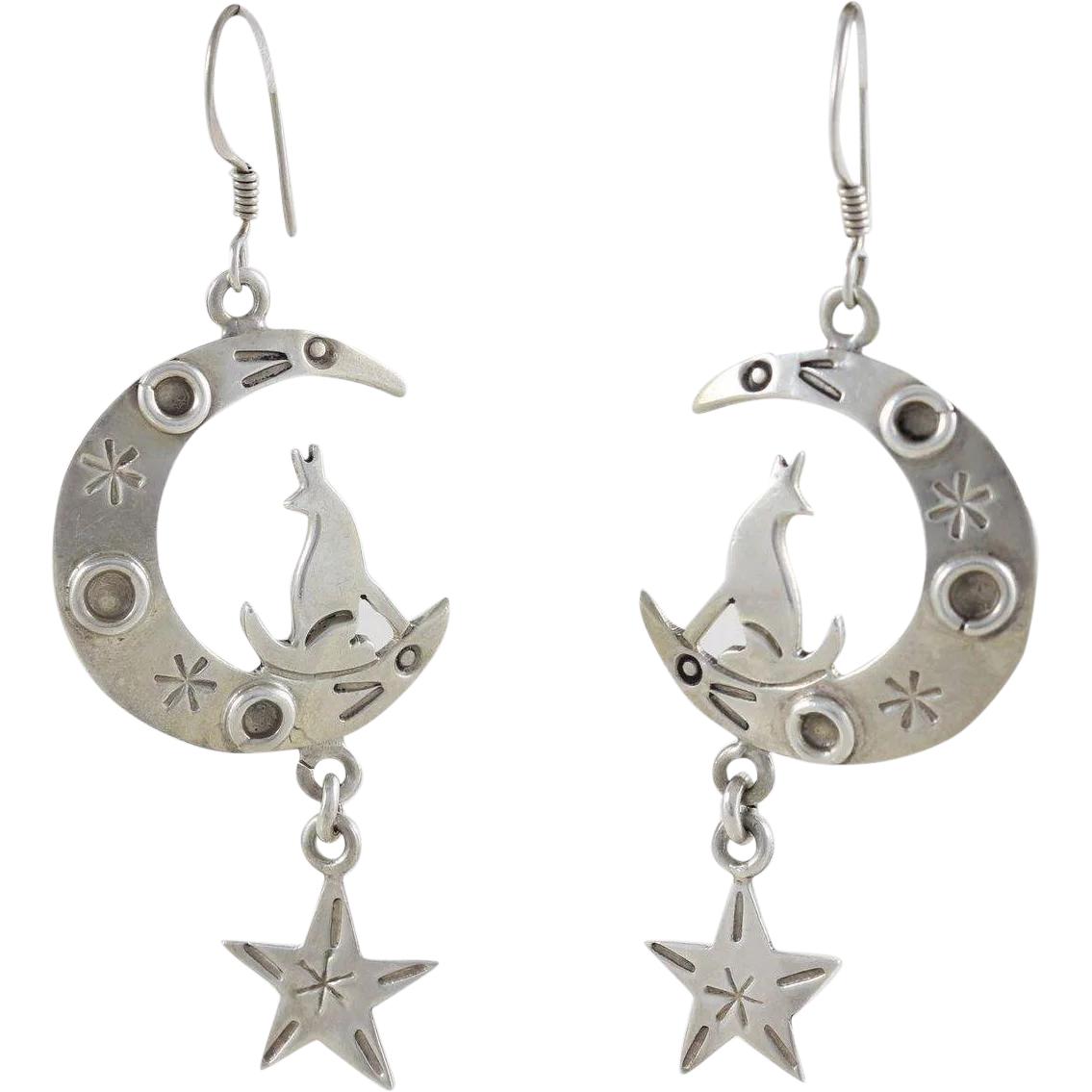 Sterling Silver Modernist Dangle Pierced Earrings Stickman