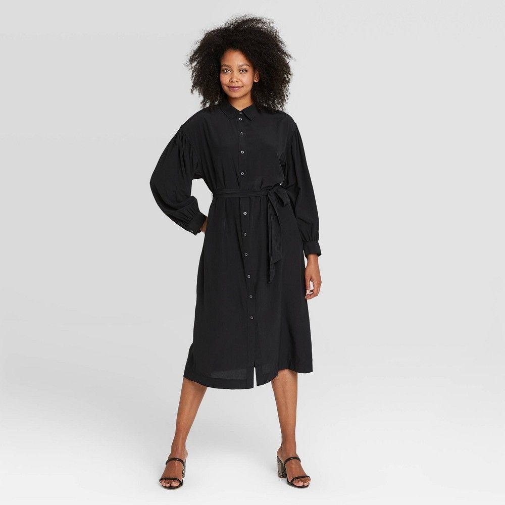 Women S Long Sleeve Drapey Button Dress Prologue Black Xxl Womens Tank Dress Women Long Sleeve Puff Long Sleeves [ 1000 x 1000 Pixel ]