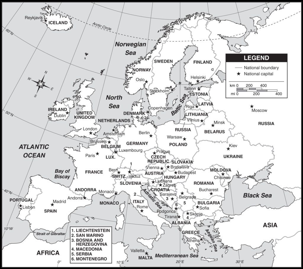 Outline Map Of Europe Countries And Capitals With Map Of ...