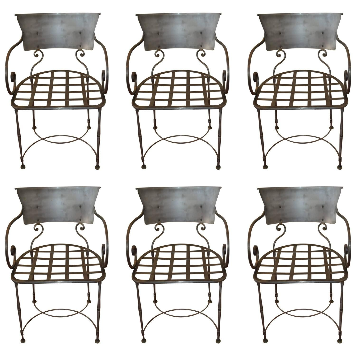 Set of Six Hand Forged Wrought Iron Dining Chairs
