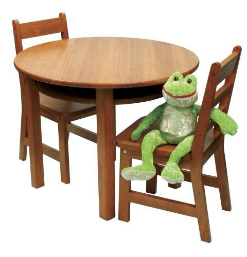 Lipper International Child S Round Table And Set Of 2 Chairs Pecan By