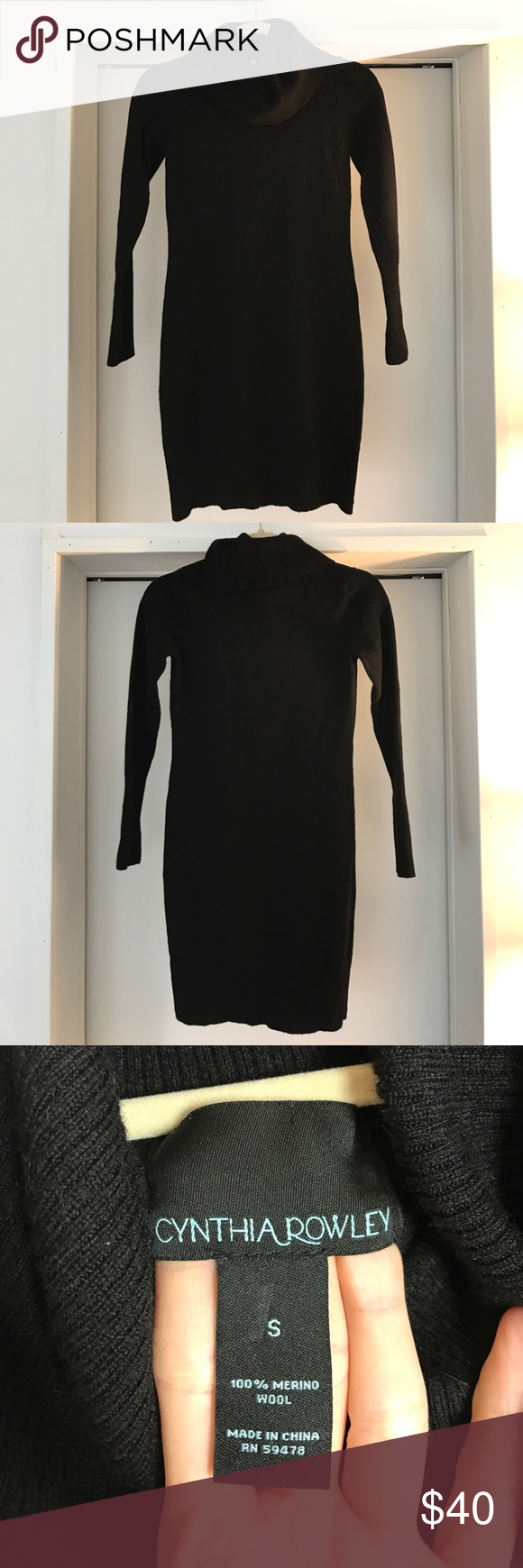 a9d0f56f045 Cynthia Rowley merino wool black sweater dress SM Great condition - black merino  wool sweater dress size small! I love this and it was so cozy it just ...