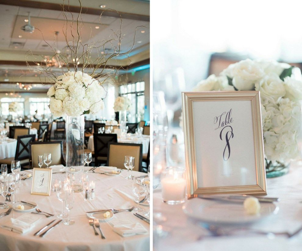 Timeless Champagne and Ivory Waterfront Wedding | Framed table ...