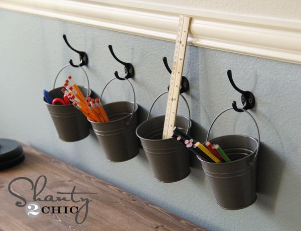 Kids Storage  You could adapt this for classroom use by using the 3M Scotch hooks that stick to the wall (or desks)