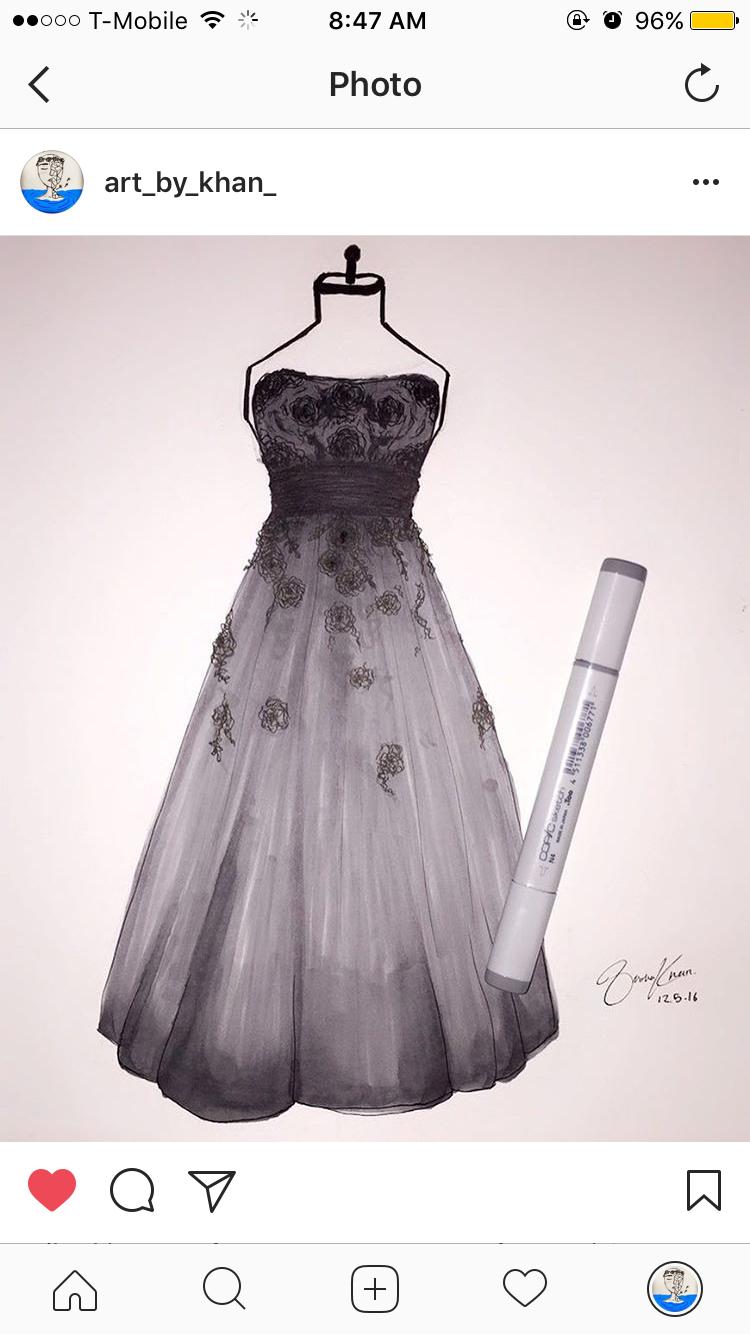 Beautiful dress drawing @art_by_khan_.