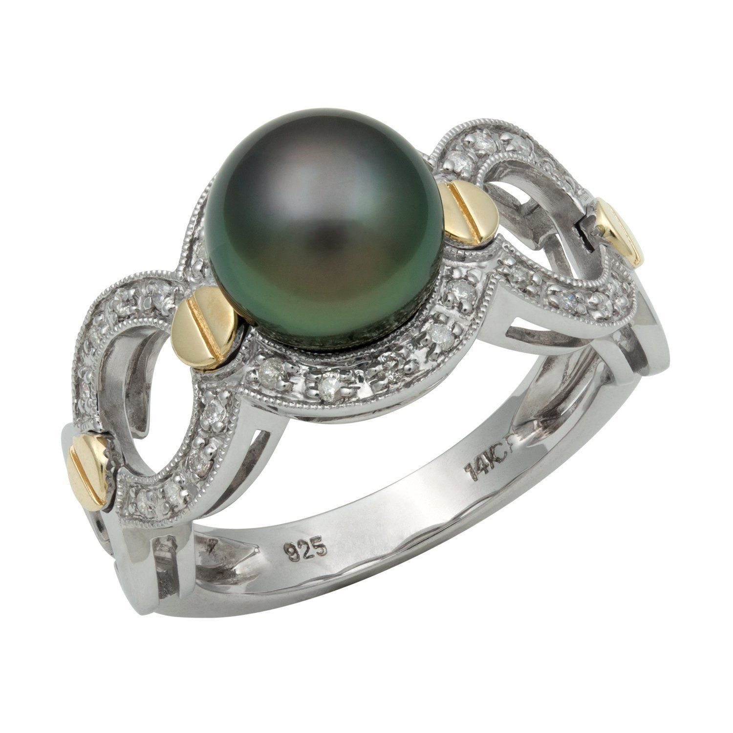 freshwater cultured gold rings engagement pearl with white tw diamonds ring in