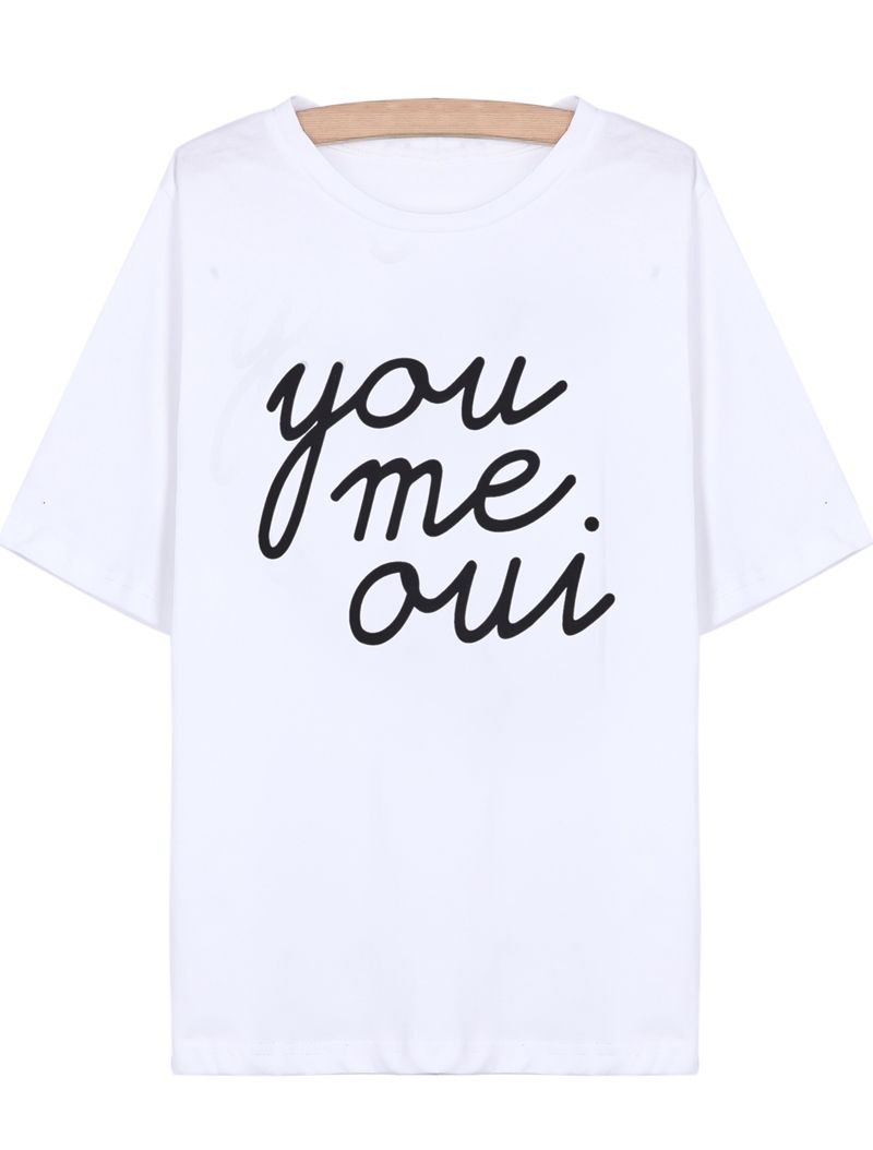 Oui You I Sleeve Shirt White Short Love Print Me T Products OfFwIpq