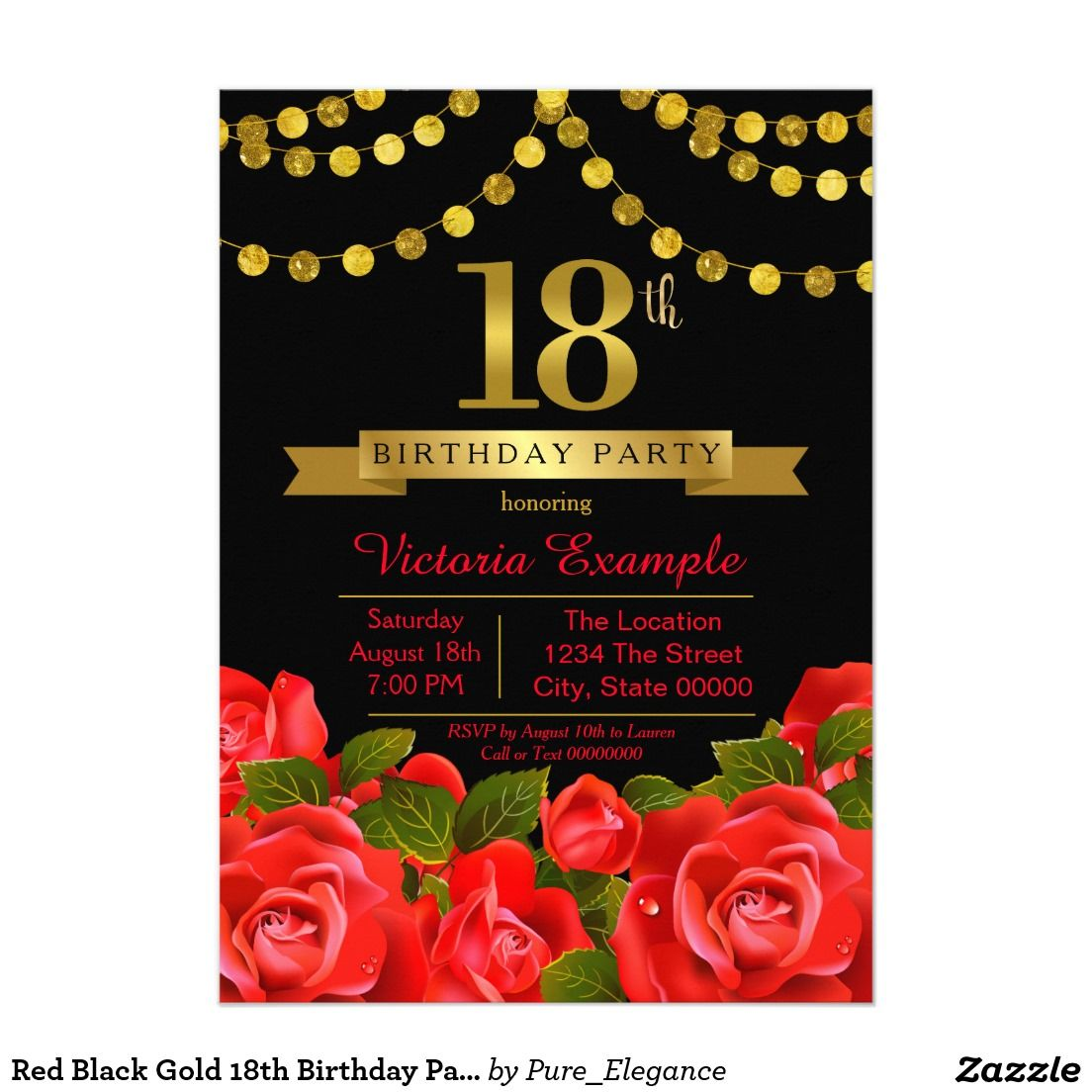 Red Black Gold 18th Birthday Party Card