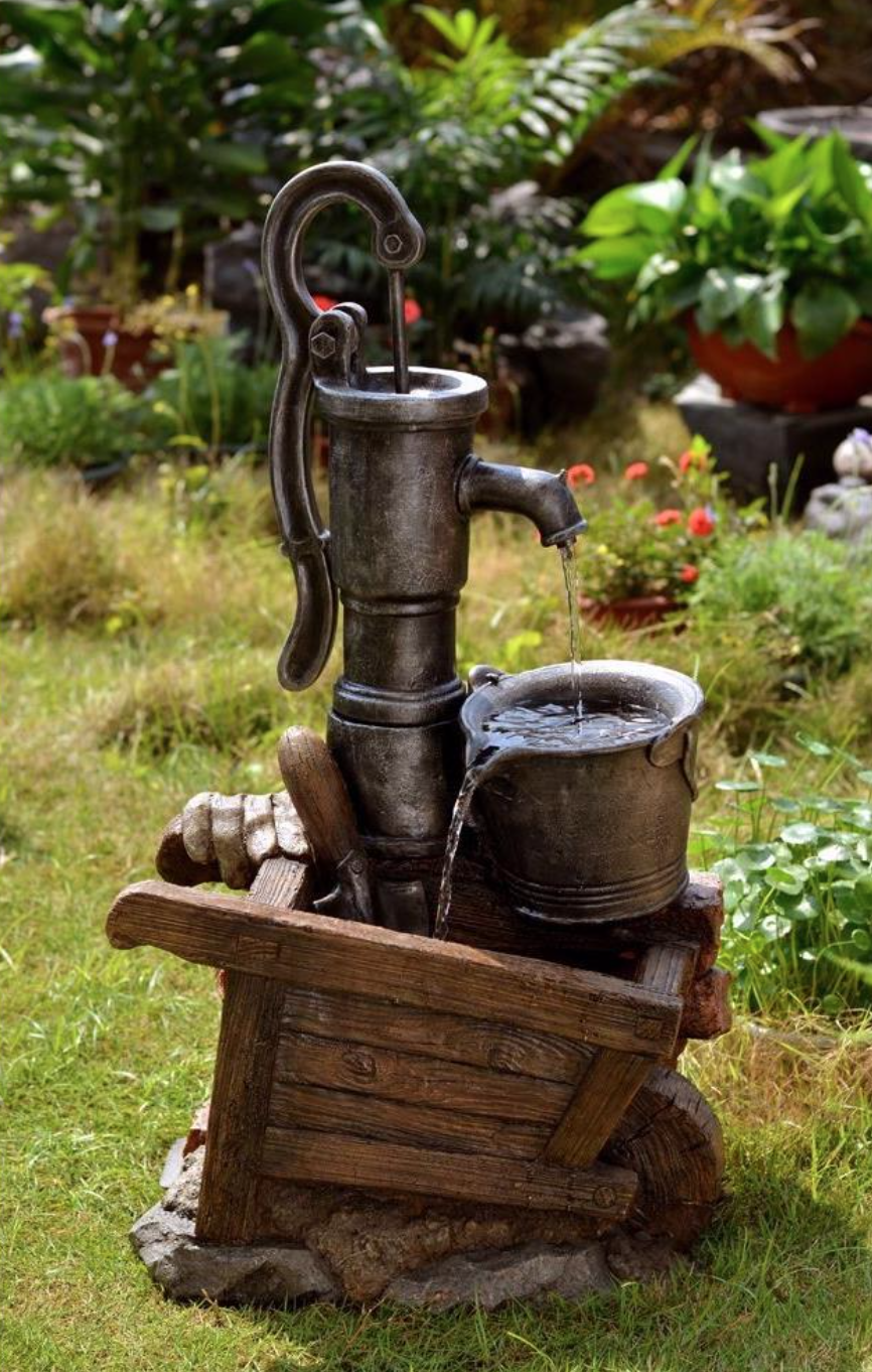 This Is A Classic Western Type Water Pump Fountain Water Pours From Water Pump To Wooden Basin Th Water Fountain Garden Water Fountains Water Fountains Outdoor