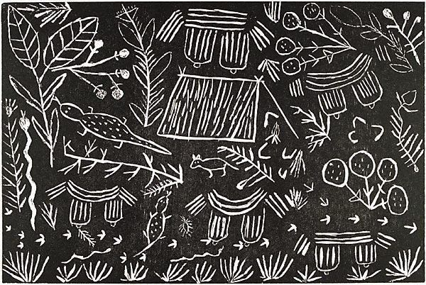 Myrtle Petyarre (Australia  – ) Community Utopia, Central Desert region Language group Anmatyerr, Central Desert region Untitled, from the series The Utopia Suite Location Not on display Place of origin Central and Western Desert, Northern Territory, Australia  Year 1990 Media Print Medium woodcut Copyright © Myrtle Petyarre. licensed by Viscopy, Sydney.