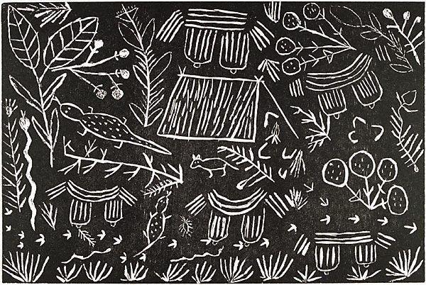 Myrtle Petyarre (Australia  – ) Community Utopia, Central Desert region Language group Anmatyerr, Central Desert region Untitled, from the series The Utopia Suite Location Not on display Place of origin Central and Western Desert, Northern Territory, Australia  Year 1990 Media Print Medium woodcut Copyright © Myrtle Petyarre. licensed by Viscopy, Sydney.