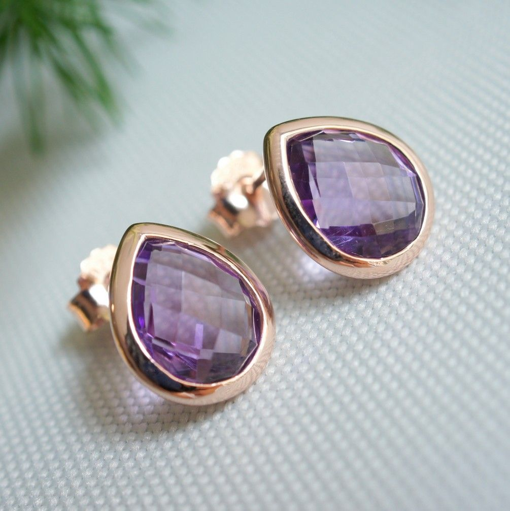 Tear Drop Amethyst Rose Gold Ear Studs