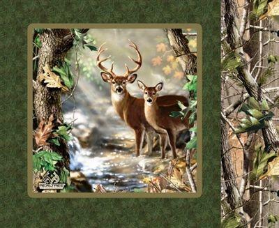 Cotton Pillow Panel - Animal Fabric - Realtree Hunting Green Deer Doe Buck4my3boyz Fabulous ...