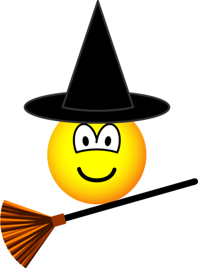 Witch flying emoticon broomstick | Emoticons / Smileys | Witzig