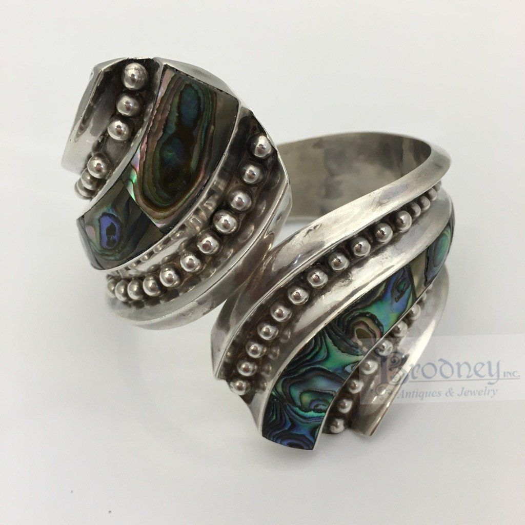 Sterling silver and abalone.  Signed: JHC, STERLING 925 TAXCO