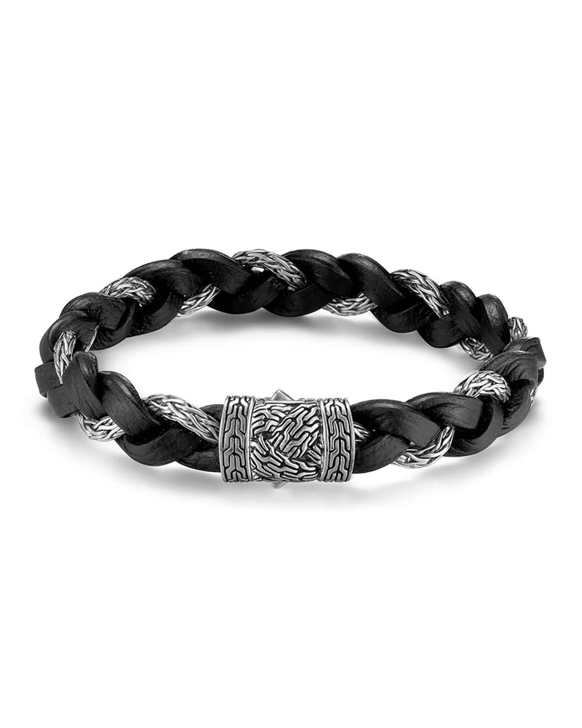 John Hardy Mens Classic Chain Silver Braided Bracelet w/Leather Cord, Size M