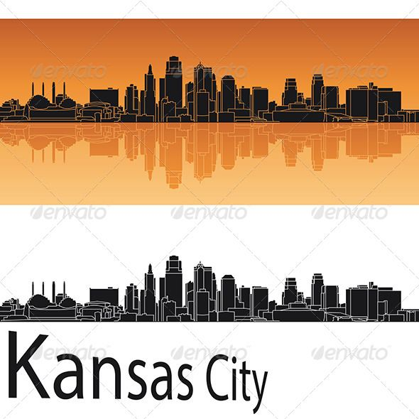 Kansas City Skyline In Orange Background Kansas City Skyline City Skyline City Silhouette