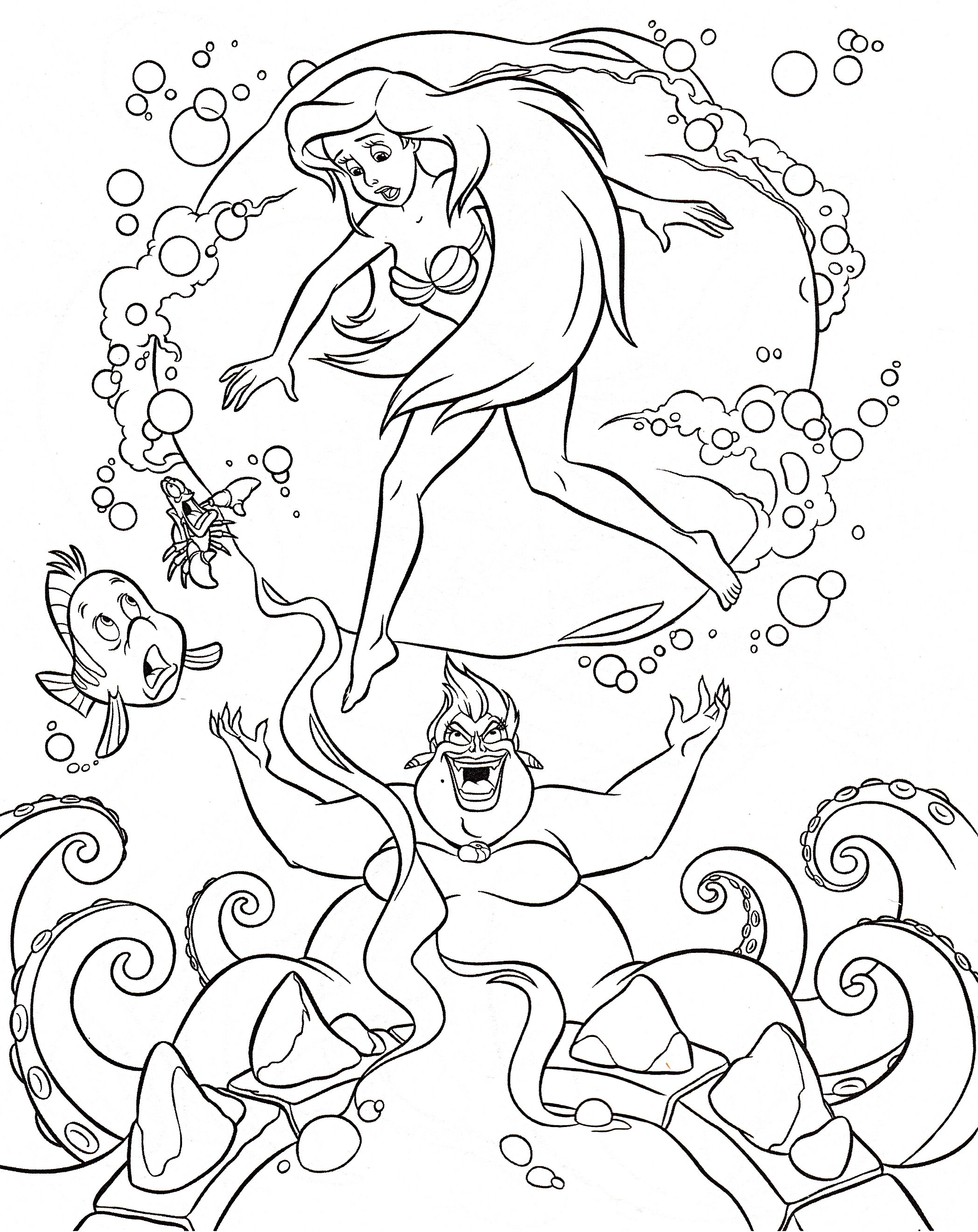 Walt Disney Coloring Pages Flounder, Sebastian, Princess