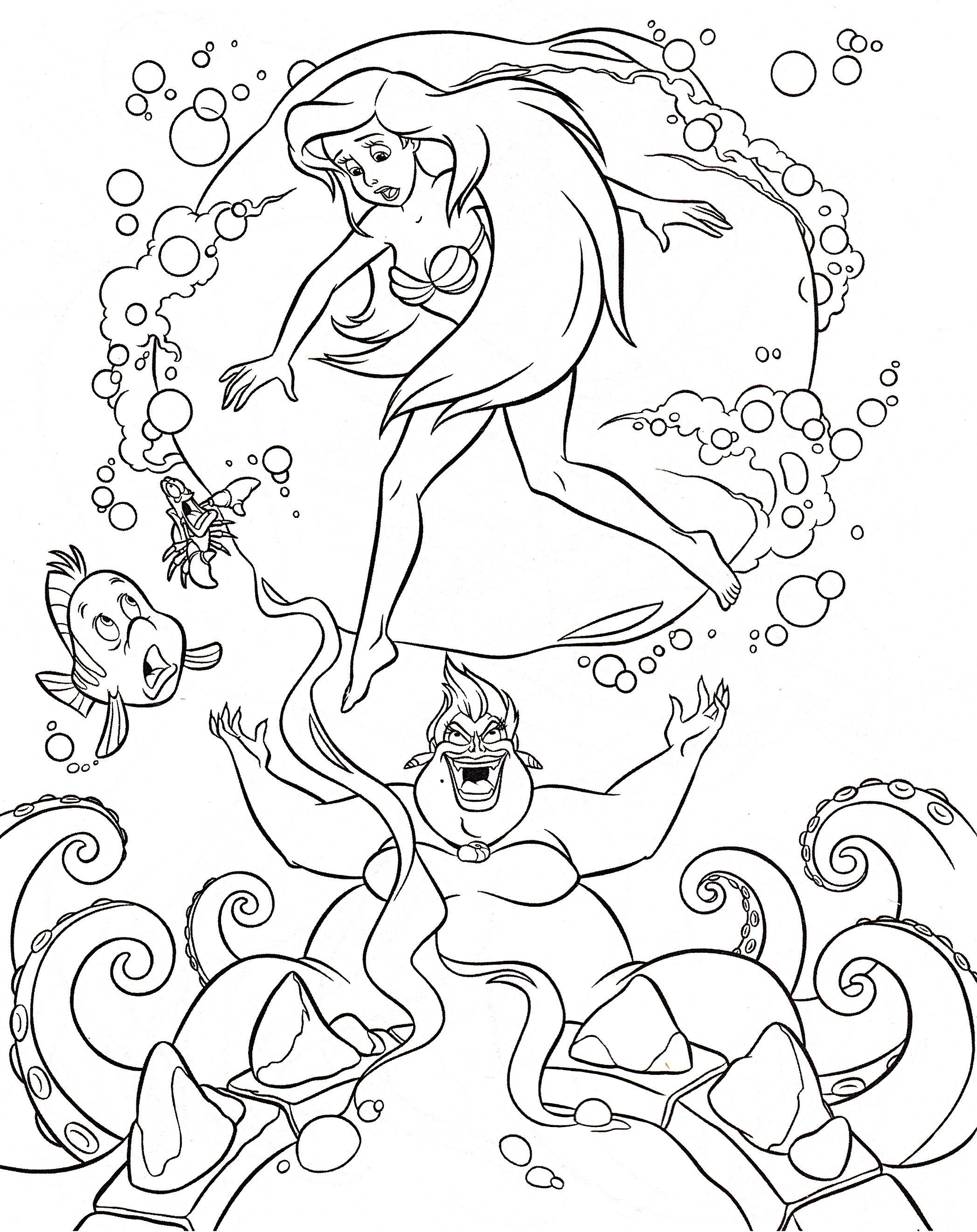 Walt Disney Characters Photo Walt Disney Coloring Pages Flounder Sebastian Princess Ariel Ursula Ariel Coloring Pages Disney Princess Coloring Pages Disney Coloring Pages