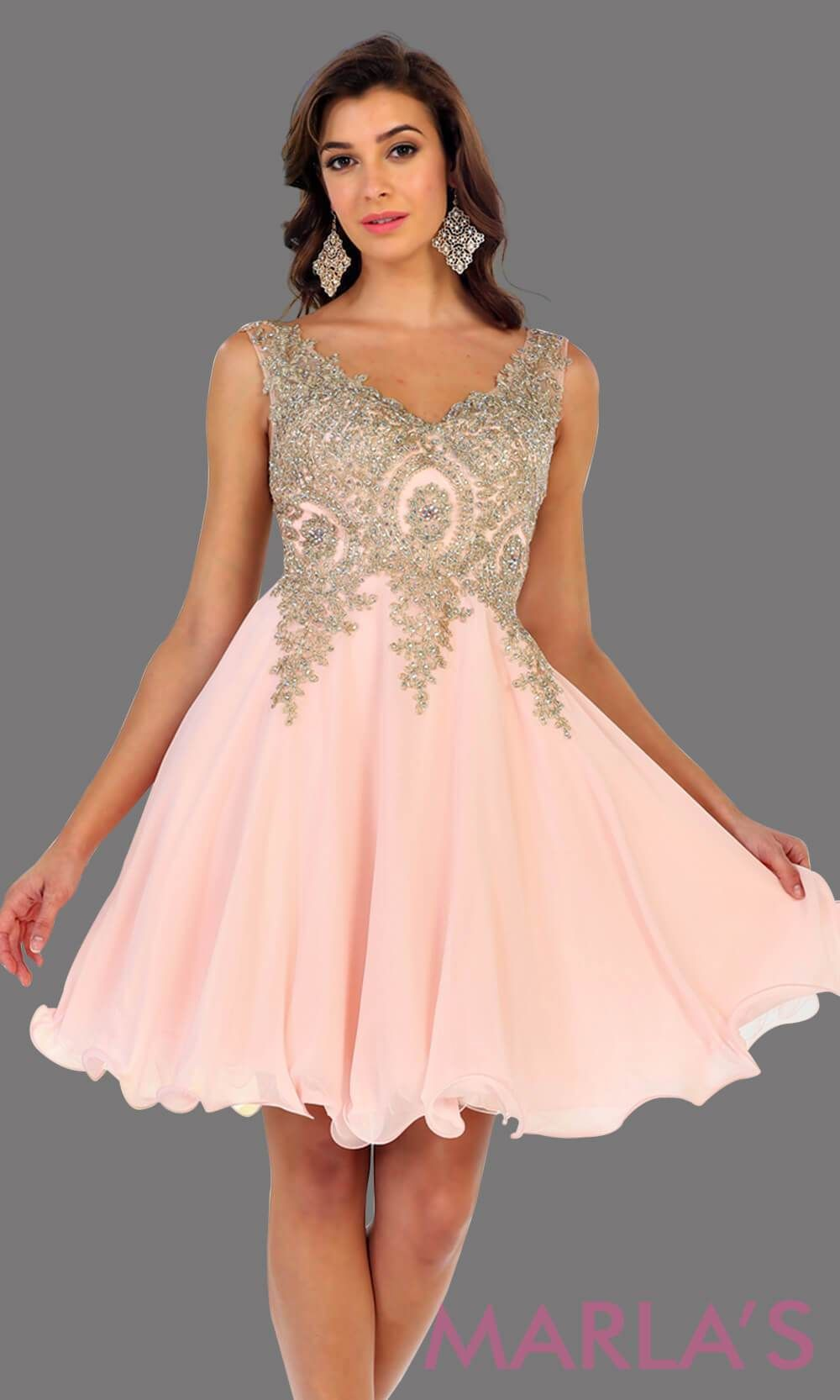85f4906cb30 Short flowy blush dress with gold lace detail on the bodice. This is a  perfect pink grade 8 graduation dress