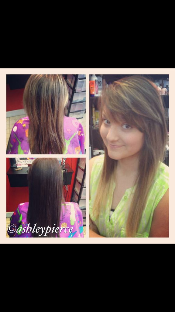 Before, during and after of an ombré done by Ashley Pierce in Jasper, AL.  (205) 544-9206!!