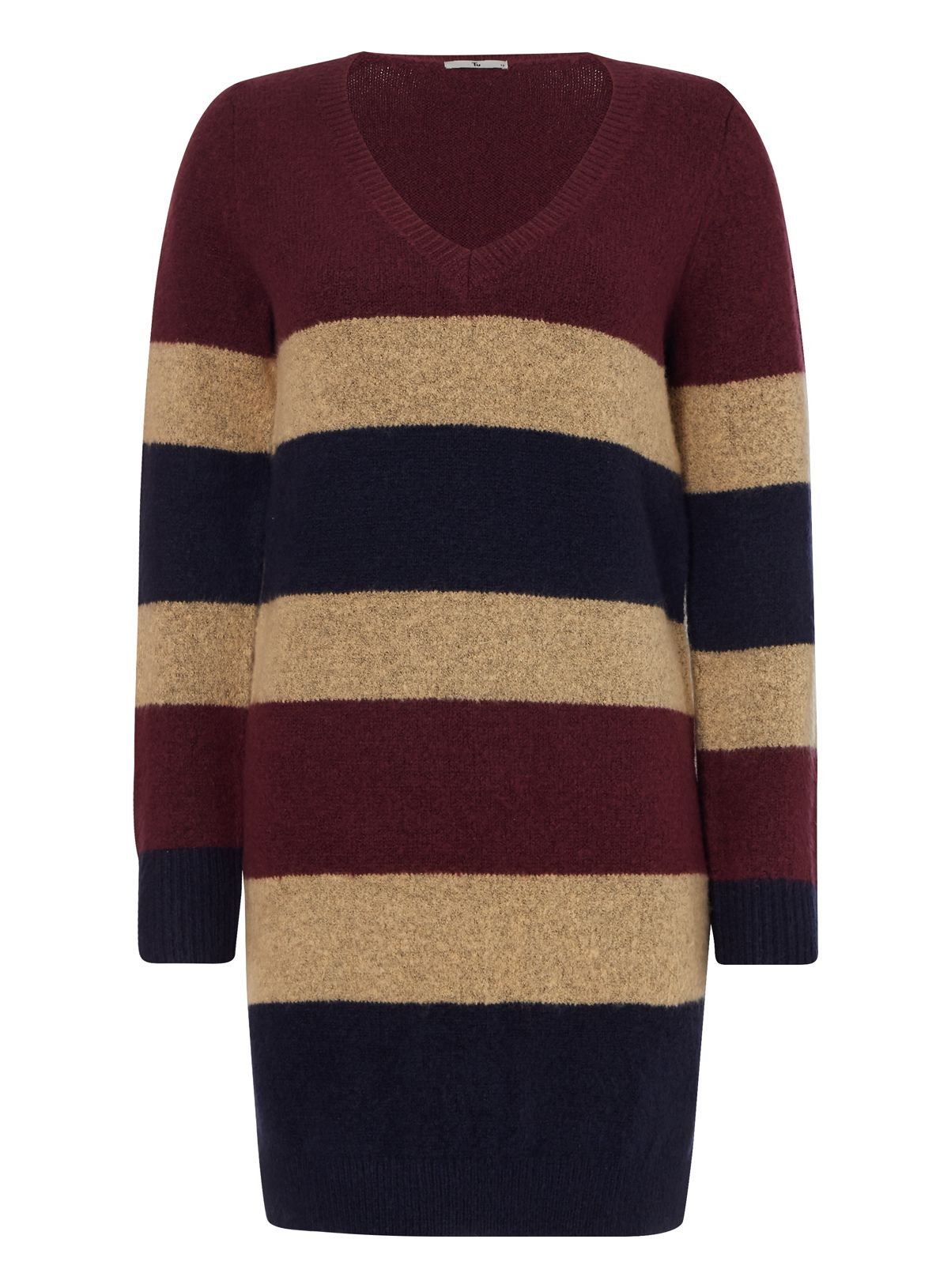 This striped tunic will become an indispensable part of your cold weather wardrobe. Designed with a V-neckline and long sleeves, this piece will team well with tan boots. Multicoloured striped v neck tunic Striped pattern V-neckline Long sleeves Side slits Model's height is 5'11