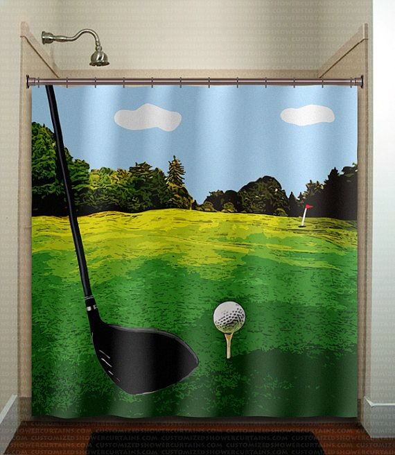 Golf Shower Curtain Extra Long Fabric Window Panel Kids Bathroom
