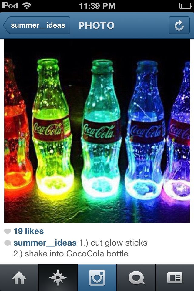 Cut open a glow stick and shake the glow stuff in to a glass coca cola bottle and watch them glow at night