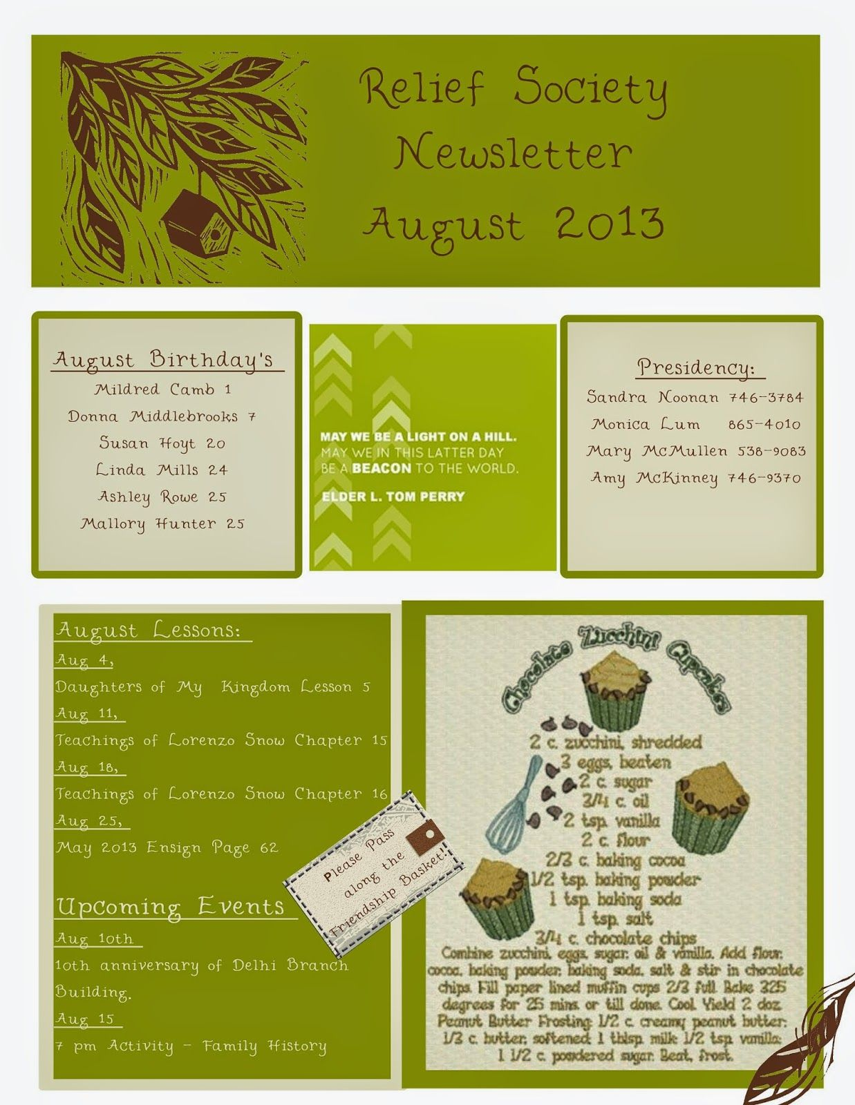 August Relief Society Newsletter | My Creations | Relief ...