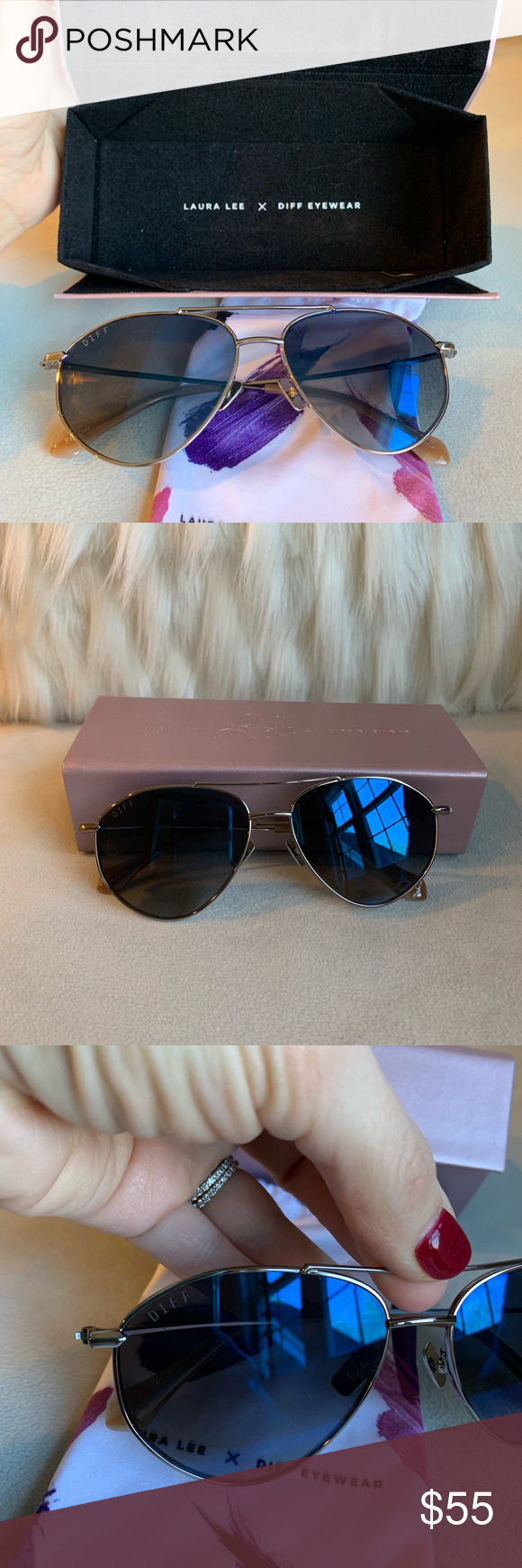 a8b2251720b7f Diff x Laura Lee Sunglasses Peachy by Laura Lee in gunmetal Perfect  condition never worn.