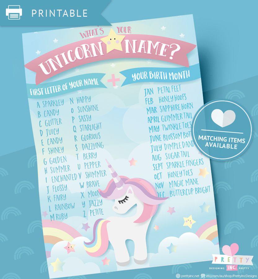 unicorn name printable unicorn party game unicorn name game