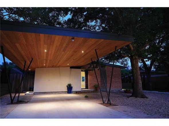 Carport Love The Lightness And The Wood With Amber Lighting So