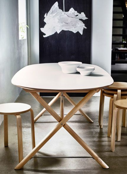 An Oval Shaped Dining Table With White Top And Birch Legs Shown Stools Ikea