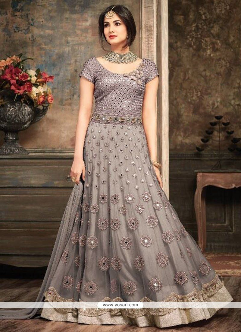 Net grey embroidered work floor length anarkali suit dresses