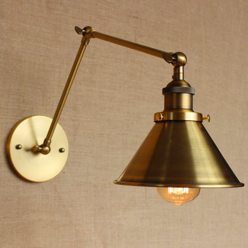 Loft Nordic Vintage Wall Lamp Clic Gold Art Sconce Decorative Light Adjule Head Led 2 Swing Arm Lights Reading