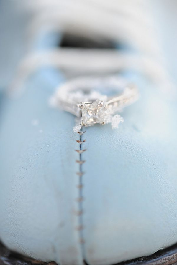 Ring on a powder blue ice skate