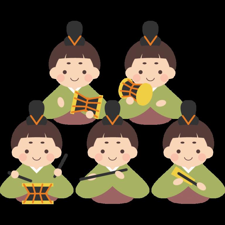 五人囃子 ごにんばやし のイラスト ひなまつり イラスト 五人囃子 ひな祭り 制作