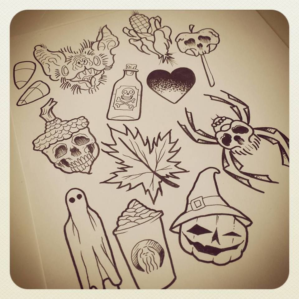 Image result for halloween themed tattoo flash | Tattoos ...