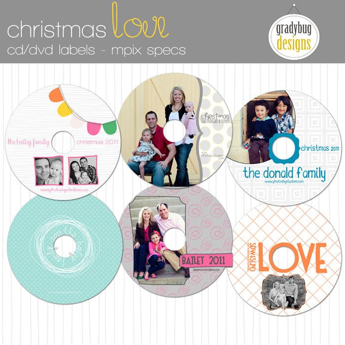 Christmas Love CdDvd Labels  Templates For Photographers