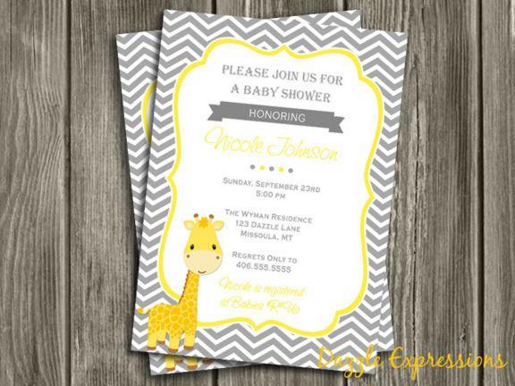 printable giraffe baby shower invitation   gray chevron   neutral, Baby shower invitations