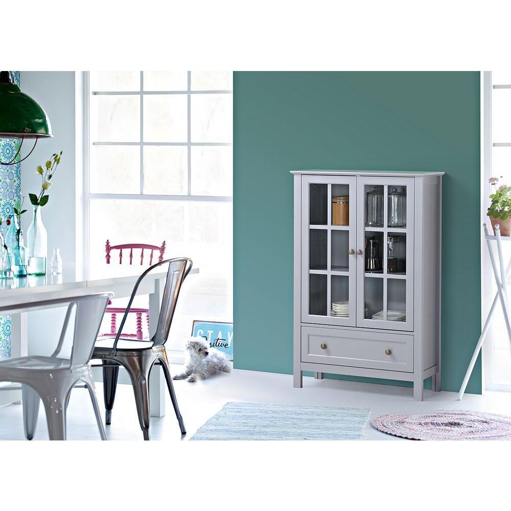 31.5 in. W MDF 2-Door/1-Drawer Glass Cabinet in Grey-Z1510335G - The ...