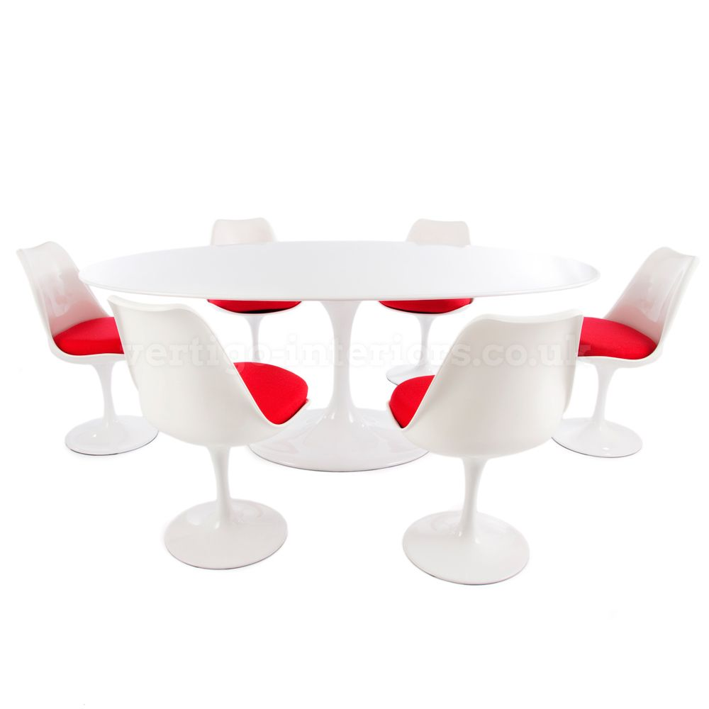 Saarinen 198cm White Oval Tulip Table U0026 6 Tulip Chairs U003e Saarinen Sets U003e  Dining Sets