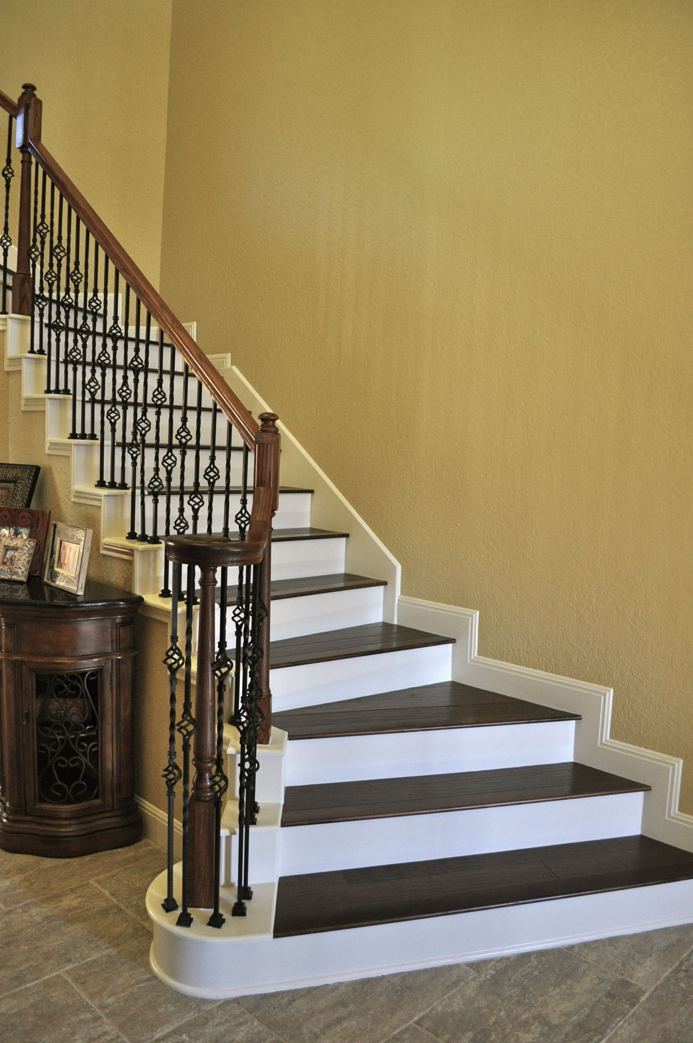 Best Hampton Hardwoods Walnut Birch Stairs With White Risers 400 x 300