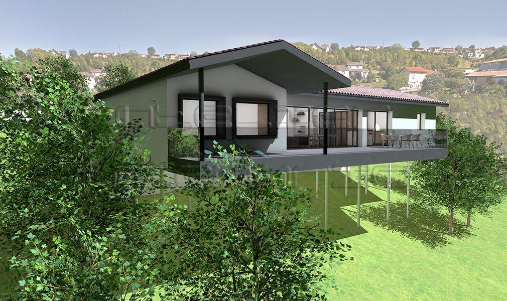 maison de plein pied sur terrain en pente ventana blog. Black Bedroom Furniture Sets. Home Design Ideas