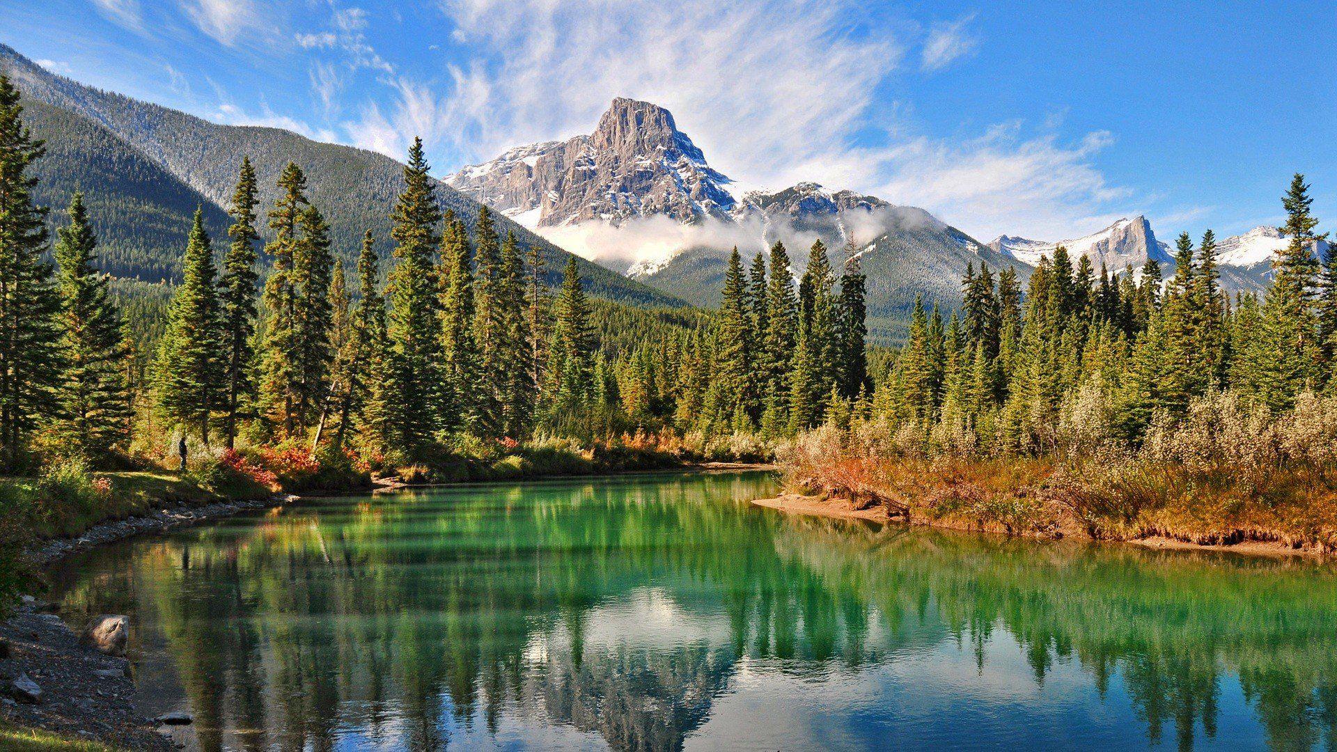 Mountain nature landscape cloud lake tree reflection river rock hd 4k ultrahd wallpaper ...