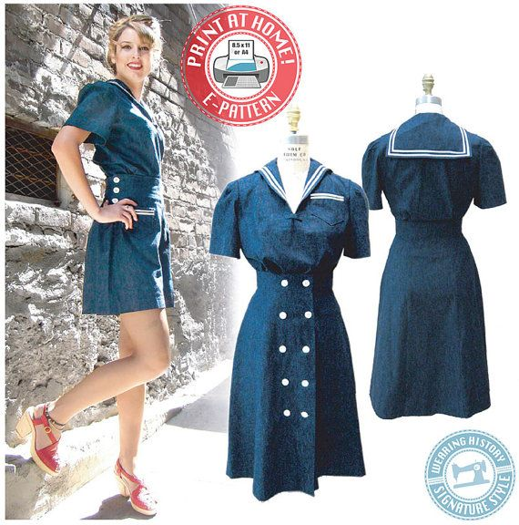 1940s Sailor Girl Play Suit- Blouse, Shorts, Skirt- Wearing History ...