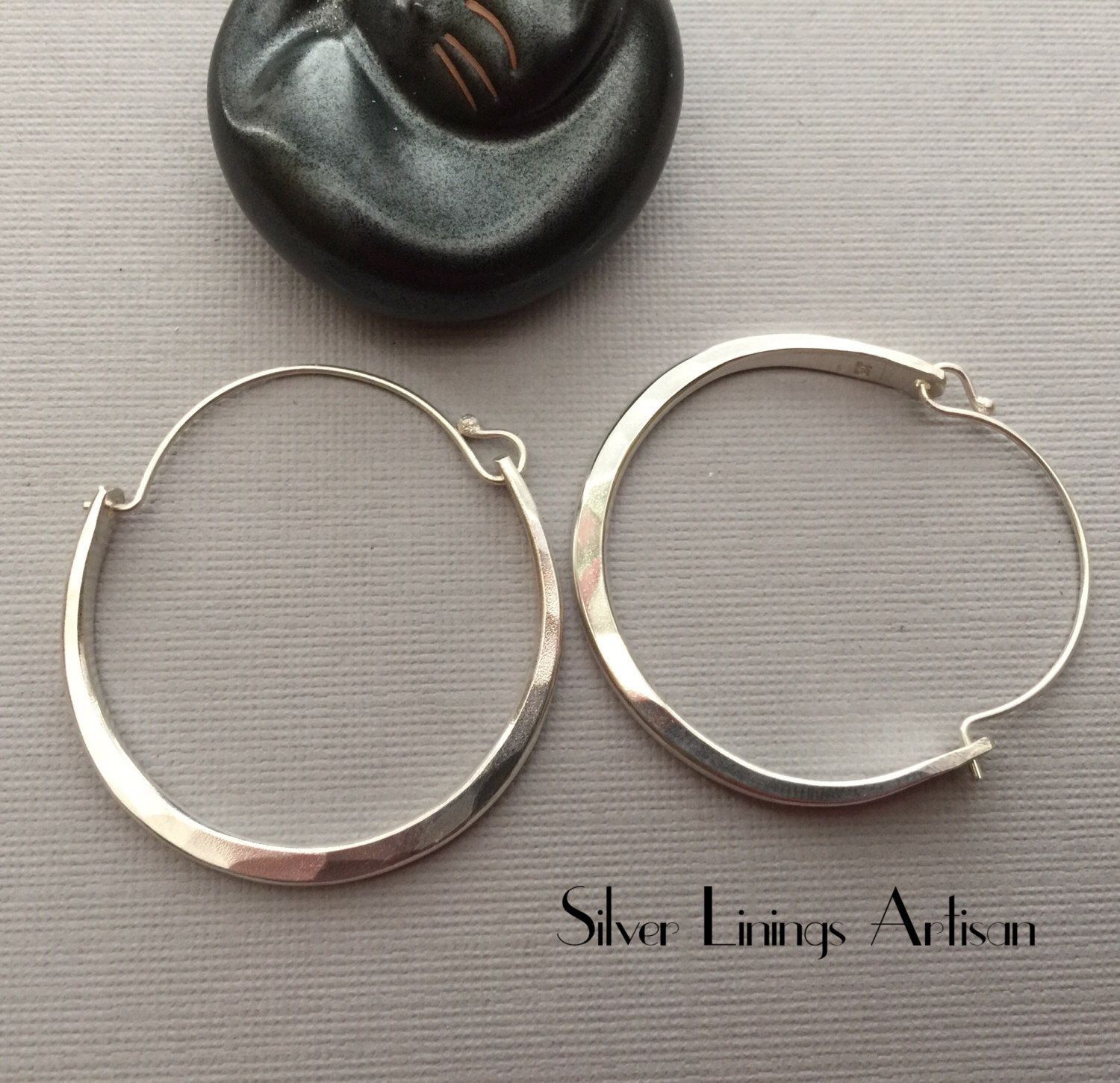 finish hammered Handmade Sterling Silver large crescent studs earrings in a planished