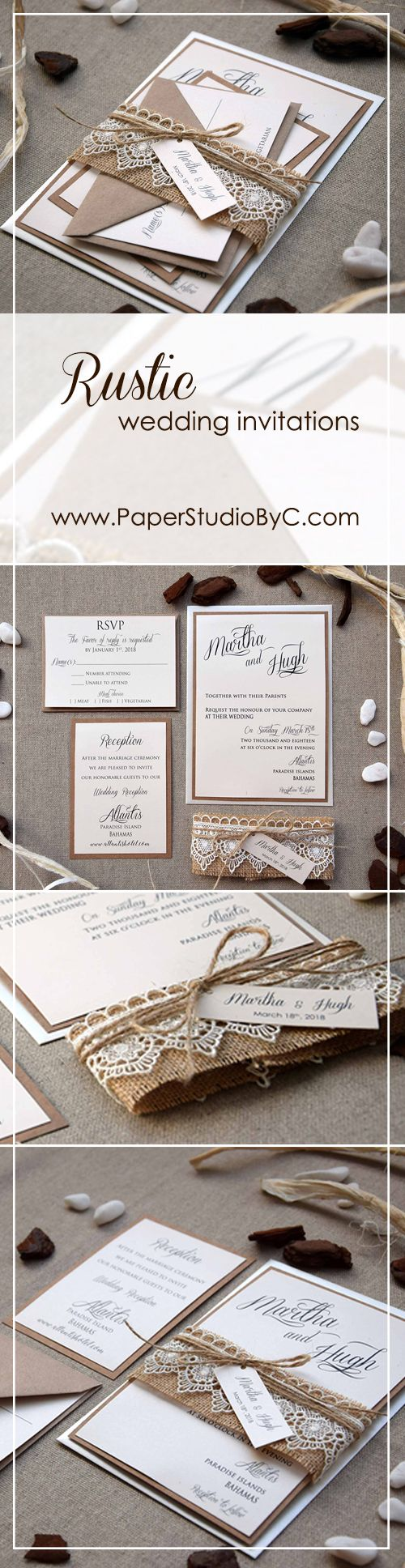 Burlap and Lace Wedding Invitations Kit   PaperStudioByC   Pinterest ...