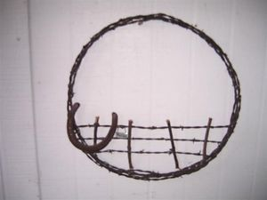 Barbed Wire Fence Horse Shoe Wreath Vintage Cowboy Primitive ...